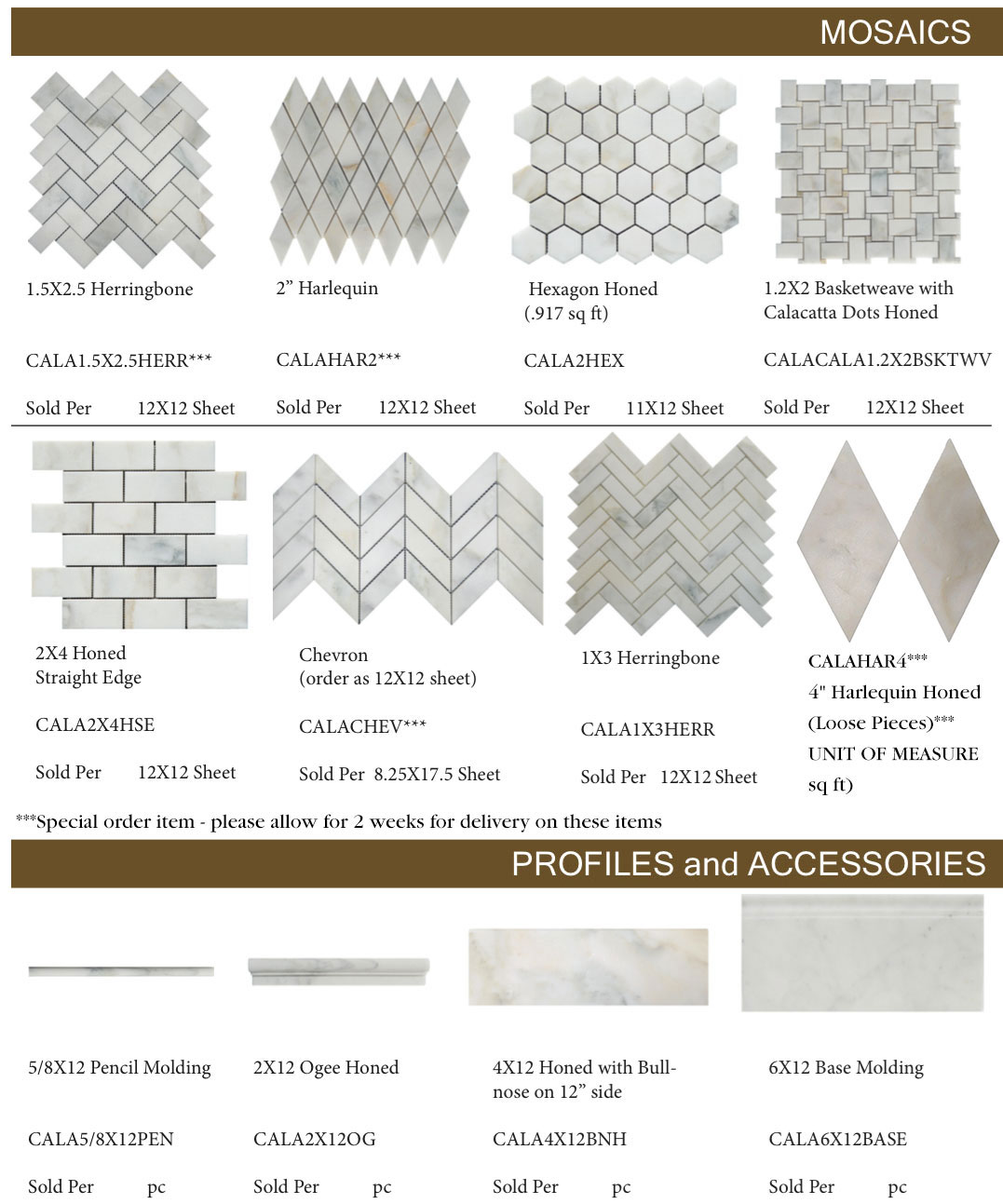 Calacatta-D'Oro-marble-Mosaics-profiles-and-accessories